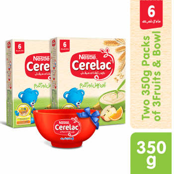 Nestle CERELAC (3 FRUITS) Two 350gms Packs with Bowl