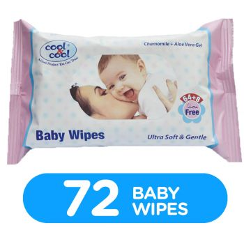 Cool & Cool Baby Wipes Chamomile & Aloe Vera Gel 64Pcs +8 Wipes Free (B5022C)