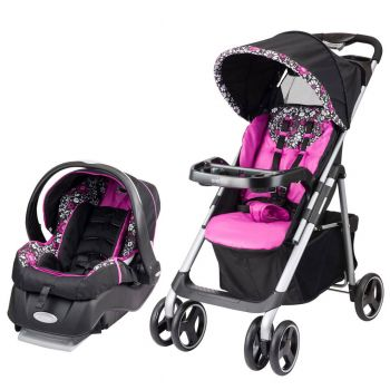 Evenflo Vive Baby Stroller & Embrace Infant Car Seat Travel System, Daphne