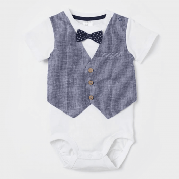 H&M Bodysuit with Vest Woven Fabric - White Gray