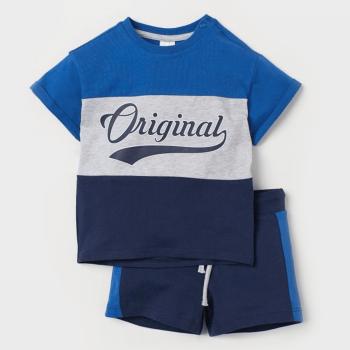 H&M Cotton Half Sleeves T-Shirt and Shorts Set - Grey Blue