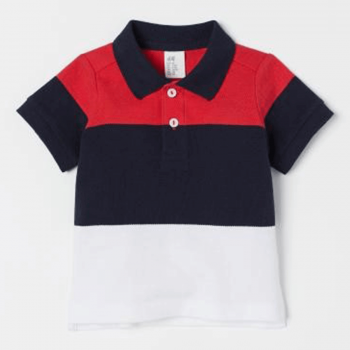 H&M Half Sleeves Cotton Polo Shirt - Red Blue