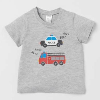 H&M Half Sleeves T-shirt Cotton Jersey Printed Design - Grey