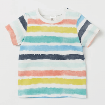 H&M Polo T-Shirt Soft Cotton Jersey - White Multi Color
