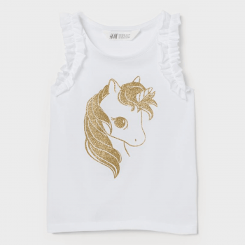 H&M Sleeveless Cotton Jersey with Printed Design - White