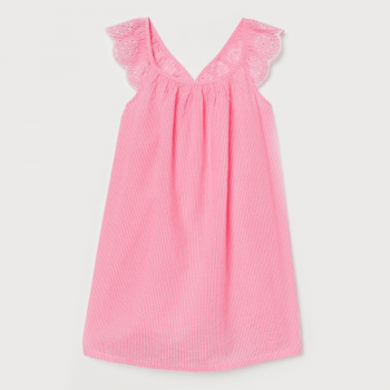 H&M Sleeveless Woven Cotton Dress with Embroidery - Pink