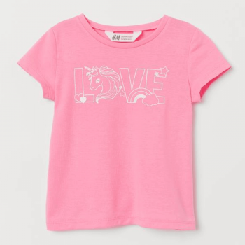 H&M Soft Top Half Sleeve with Printed Design - Pink
