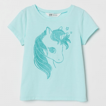 H&M Soft Top Half Sleeve with Printed Design - Sky Blue