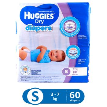 Huggies Dry Diapers Super Jumbo (Small - 60Pcs)