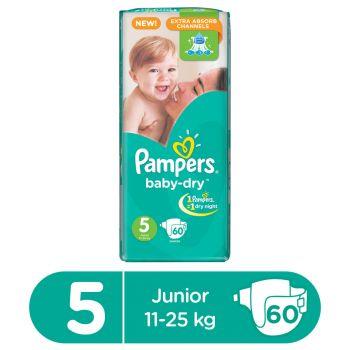 Pampers Mega Pack Junior Diapers Size 5 60Pcs (XLarge)
