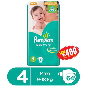 Pampers Mega Pack Large Size 4 Diapers Butterfly 64Pcs