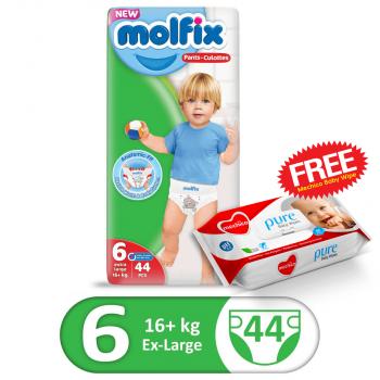Molfix Pants Jumbo Pack 44Pcs XLarge Size 6 (FREE Mechico Wipes 56Pcs)