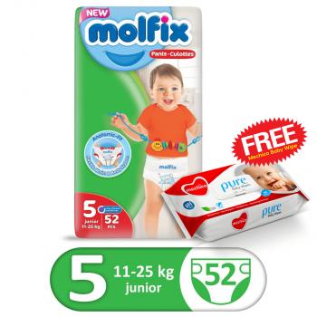 Molfix Pants Jumbo Pack 52Pcs Junior Size 5 (FREE Mechico Wipes 56Pcs)