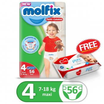 Molfix Pants Jumbo Pack 56Pcs Maxi Size 4 (FREE Mechico Wipes 56Pcs)