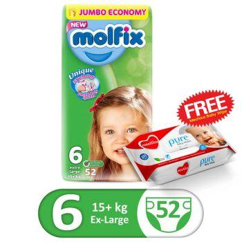 Molfix 3D XLarge 52Pcs Jumbo Size 6 (FREE Mechico Wipes 56Pcs)