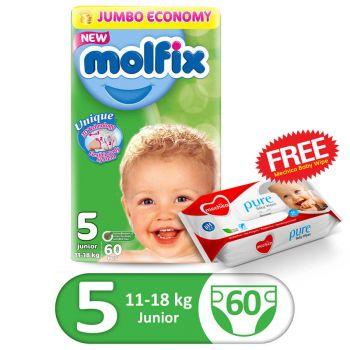 Molfix 3D Jumbo Pack Junior 60Pcs Size 5 (FREE Mechico Wipes 56Pcs)
