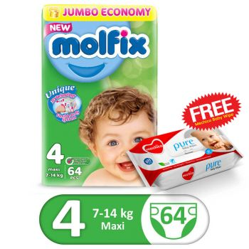 Molfix 3D Jumbo Pack Maxi Size 4 64Pcs (FREE Mechico Wipes 56Pcs)