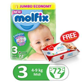 Molfix 3D Jumbo Pack 72Pcs Midi Size 3 (FREE Mechico Wipes 56Pcs)