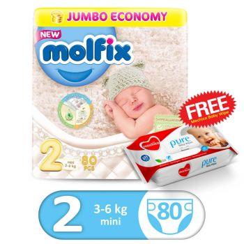 Molfix 3D Mini 80Pcs Jumbo Size 2 (FREE Mechico Wipes 56Pcs)