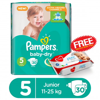 Pampers Baby-Dry Jumbo Pack Junior 30 Diapers (XL)  (FREE Mechico Wipes 56Pcs)