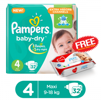 Pampers Baby-Dry Jumbo Pack Large 32 Diapers Butterfly (FREE Mechico Wipes 56Pcs)