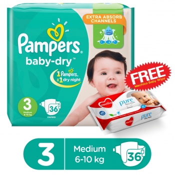 Pampers Baby-Dry Jumbo Pack Medium 36 Diapers Butterfly  (FREE Mechico Wipes 56Pcs)