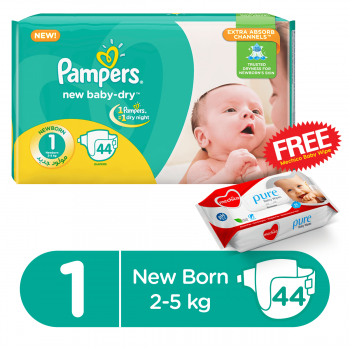 Pampers Jumbo Pack S1 New Born 44 Diapers  (FREE Mechico Wipes 56Pcs)