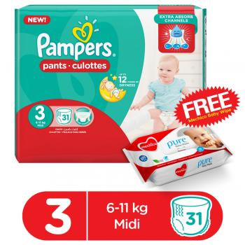 Pampers Pants Jumbo Pack Size3 (Medium) 31Pcs (FREE Mechico Wipes 56Pcs)