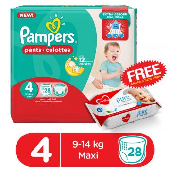 Pampers Pants Jumbo Pack Size 4 28Pcs (FREE Mechico Wipes 56Pcs)