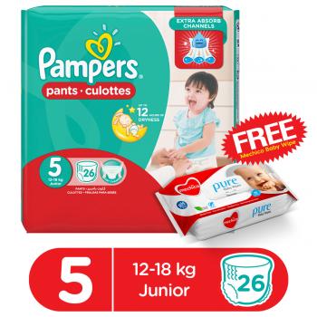 Pampers Pants Jumbo Pack Size 5 26Pcs (FREE Mechico Wipes 56Pcs)