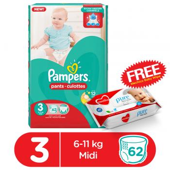 Pampers Pants Mega Pack Size 3 62Pcs (FREE Mechico Wipes 56Pcs)