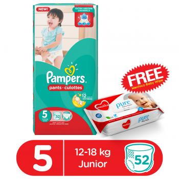 Pampers Pants Mega Pack Size5 (Junior) 52Pcs (FREE Mechico Wipes 56Pcs)