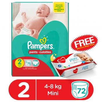Pampers Pants Mega Pack Size2 (Small) 72Pcs (FREE Mechico Wipes 56Pcs)