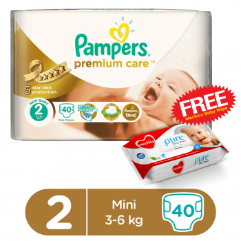 Pampers Premium Care VP Mini S2 40Pcs (FREE Mechico Wipes 56Pcs)
