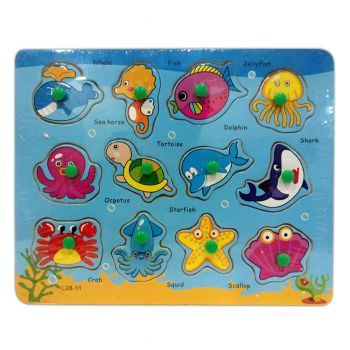 Planet X Baby Sea Animals Wooden Puzzle (PX-10499)