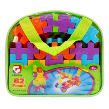 Planet X Colorful Waffle Blocks Bag 62Pcs (PX-10370)
