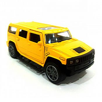 Planet X Hummer Scaled Model Metal Pull Back Die Cast With Light & Sound Yellow (PX-10414)