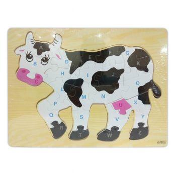 Planet X Wood Abc Puzzle Cow (PX-10366)