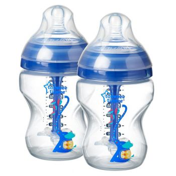 Tommee Tippee Advanced Anti-Colic Decorated Baby Bottles Boy Blue Pack2 (TT 422657)