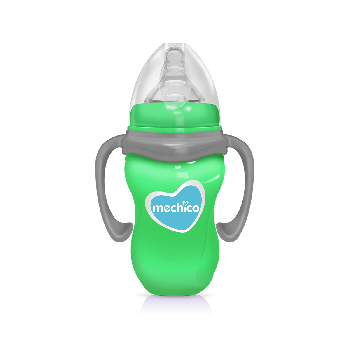 Mechico Wide Neck BPA Free Color Feeding Bottle 240ML/8oz - Green