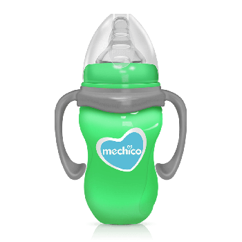Mechico Wide Neck BPA Free Color Feeding Bottle 270ML/9oz - Green
